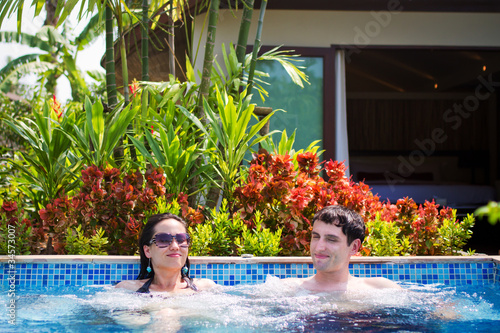 Attractive Couple in Jacuzz