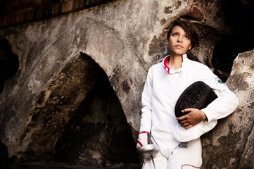 Young woman fencer portrait
