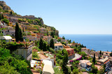 Fototapety view on town Taormina from Castelmola, Sicily