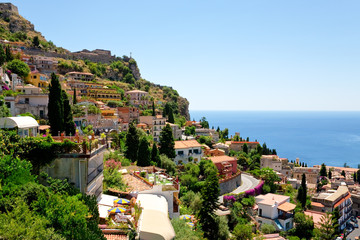 view on town Taormina from Castelmola, Sicily