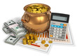 Financial concept: pot of gold, calculator and dollars