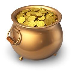 Pot of golden coins