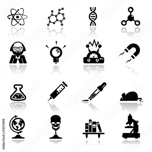 Icons set science and research