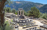 Temple of Athena pronoia at Delphi site in Greece
