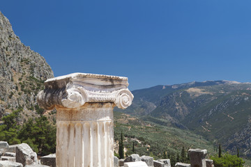 Single ionic order capital at Delphi site in Greece