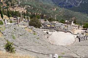 Temple of Apollo and the theater at ancient Delphi in Greece