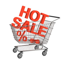 Hot sale shopping cart. Isolated on the white background