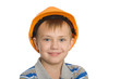 Boy in the construction helmet.