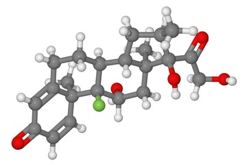 Ball and stick model of dexamethasone molecule