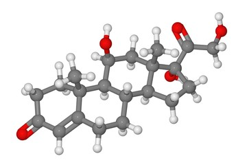 Ball and stick model of cortisol molecule