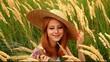 Redhead girl at outdoor.