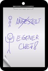 Clipboard - Angestellt - Eigener Chef