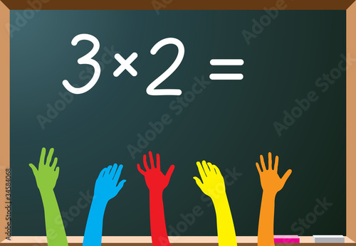 school students raising hands, vector