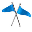 Two blue flags isolated on white background