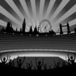 stadium and London skyline - vector