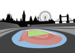 stadium with London skyline - vector