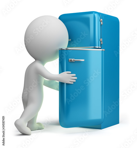3d small people - retro fridge