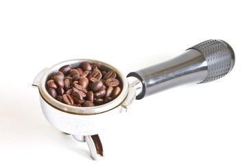 Coffee beans in coffee maker filter