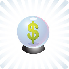 Financial prediction crystal ball illustration