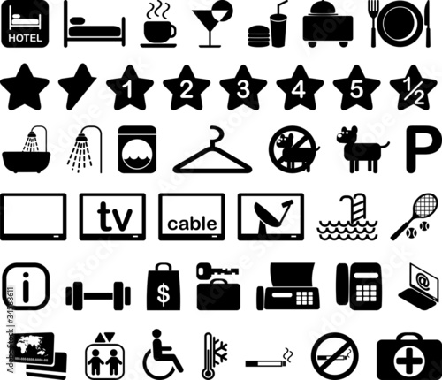 Hotel icon set illustration
