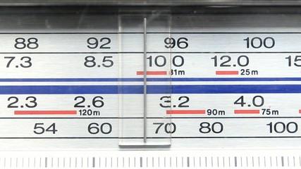 Radio tuning control panel close up