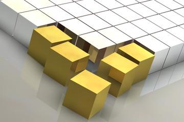 Netzwerk Cube Gold
