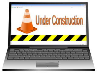 Laptop mit Website under Construction