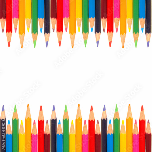 Colorful double-edged border of colored pencils