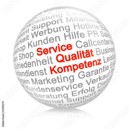Service, Qualität, Kompetenz weiß