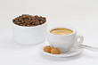 Espresso with amarettini and coffee beans