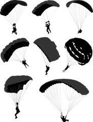 Big set of parachutists in flight