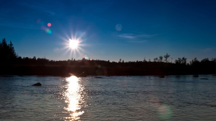 clear sky at sunset on the river, timelapse