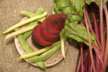 cut red beets on a plate