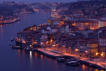 View of Oporto at night