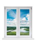 Fototapeta Białe plastikowe okno z widokiem