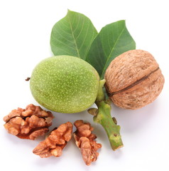 Green walnut; peeled walnut and its kernels.