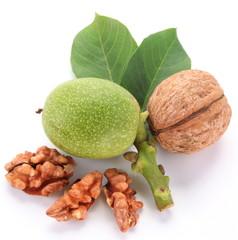 Green walnut; peeled walnut and its kernels.
