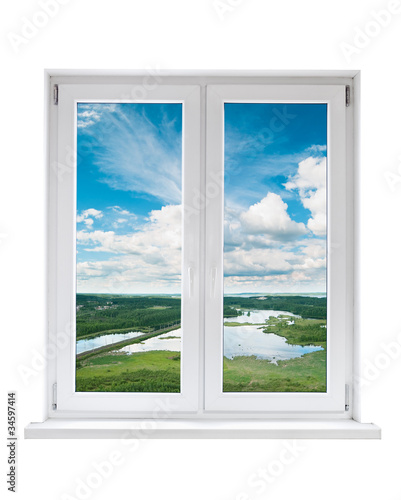 Fototapeta White plastic double door window with view to tranquil landscape