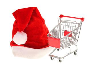 Weihnachtseinkauf / Nikolausmütze mit Einkaufswagen