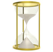 Time is Money. Hourglass made of Metal. Gold