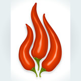 Red hot chili pepper in the shape of fire sign