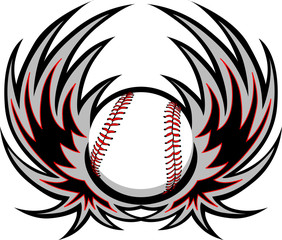 Baseball with Wings Template