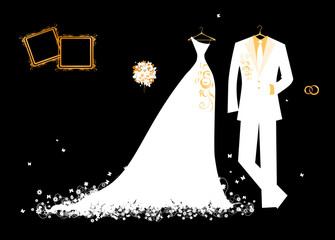 Wedding groom suit and bride's dress white on black