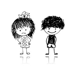 Boy and girl, sketch for your design