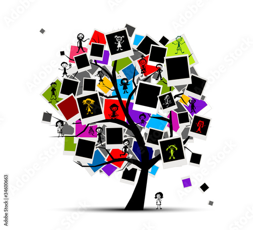 Memories tree with photo frames, insert your picture
