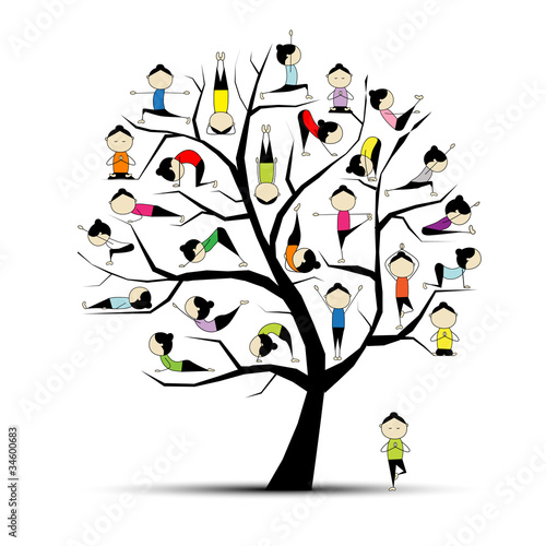 Yoga practice, tree concept for your design