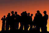 Silhouette of Crowd at Sunset