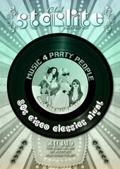 Partyflyer Retro Schallplatte