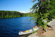 Canoe in camp in the Boundary Waters