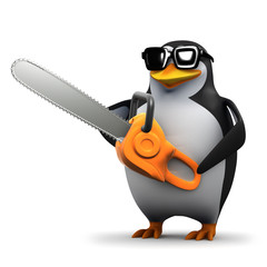 3d Penguin cuts down a tree with his chainsaw